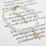 The Messages of Love Baptism gift is a special bracelet to wear on baptismal day. Tuck away to be brought out again on wedding day. The Baptismal bracelet is a meaningful gift idea from parents, grandparents or godparents. You may also choose to customize the card (extra charge) to include name and/or birthdate or baptism date.