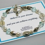 Believe Wish Dream is a beautiful gift idea for graduations, encouragement, or other special celebrations. Swarovski crystals, freshwater pearls and sterling silver design.