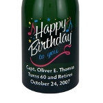 Celebrate a birthday in a very special way with our etched birthday wine or champagne bottle. Personalized etched wine and champagne bottles are fun and impressive birthday gifts that will leave your other friends green with envy. Whether its a landmark year, or simply just because you care, try a personalized etched bottle of wine or champagne for your special someones birthday gift. Add their name, birthdate, and your personalized message to your etched wine or champagne bottle to create a custom birthday gift theyll fall in love with. Each etched wine or champagne bottle is exquisitely etched and engraved, then skillfully hand-painted, creating a stunning piece of artwork for you our your lucky recipient! Then each etched wine or champagne bottle is custom personalized with any message you choose.