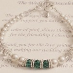 Here is a special bracelet for your bridal party. Each bracelet is made with Swarovski crystals and Bali silver. The bracelet comes with the special poem as shown below. Bracelets can be customized with your wedding colors. Choose between a maid of honor charm or heart charm. The white signifies my wedding day and the support you have given to me The color of green shines through today for the friendship I clearly see. Thank you for the love youve shown and for making our wedding so bright. I appreciate you so very much because youve filled our hearts with delight. © 2004 – MOL Jewelry, All Rights Reserved.