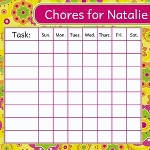 "Chore Charts make doing chores more fun for kids! Each chart is 11.5""w x 11""h, made out of durable plastic with a dry erase finish, includes one dry erase pen, velcro and magnet tape for hanging."
