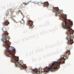 Celebrate a special confirmation with our confirmation crystal bracelet. Each bracelet is created using burgundy swarovski crystals and bali sterling silver. Card Reads: On this very special day, may you feel the Lords embrace. Stay close to Him as you walk your journey through life. Let this bracelet be a reminder of His presence and love for you.