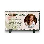 "Standing 4 3/4"" x 8 1/2"" x 3/8"", this adorable Confirmation Frame will surely stand out, yet beautifully blend in any room or home decor. Personalize our unique Catholic Confirmation Gift with any 4 lines for message, name, date, and photo. Makes a great confirmation gift that will be treasured for years to come. The Photo Slate makes a nice gift for the young adult making his/her Confirmation or as a thank you gift to the confirmation sponsor."