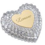 "This romantic crystal heart box will make a beautiful addition to anyones dresser top or vanity. This 4"" x 4"" box makes is the perfect place to store jewelry or other small treasured trinkets. Add their name or initials to the brass heart plate to ensure the gift will be treasured for many years to come."