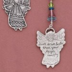 "Fine cast pewter piece w/ colorful glass beads (no plastic components), comes w/ descriptive gift tag. Let the angel be a constant reminder to drive with care. ""Dont Drive Faster Than Your Angel Can Fly...."" The keychain makes a great gift idea for a new driver, graduation gift, special friend or family member, ore someone you care about."