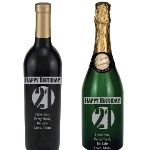 Celebrate a 21st birthday with an etched bottle of wine or champagne. Choose between a wine or champagne bottle is exquisitely etched and engraved! Then each etched wine or champagne bottle is custom personalized with any message you choose.