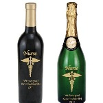 Celebrate a nurse graduation, say thank you to a special nurse or congratulate a retiring nurse. Each etched wine or champagne bottle is exquisitely etched and engraved, then skillfully hand-painted, creating a stunning piece of artwork for you or your lucky recipient! Then each etched wine or champagne bottle is custom personalized with any message you choose. Cap colors differ depending upon type of wine/champagne (Merlot-blue, cab-red)