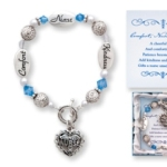 Expressively Yours bracelets are distributed through MOL Jewelry. Silver like message beads and glass beads make this a special gift idea. An etched heart charm hangs by the toggle. The gift comes beautifully boxed with a special poem card.