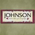 Our Personalized Wall Canvas is the perfect gift housewarming gift; with its bold burgundy edge and decorative flowers it is sure to look great in any home. Give this beautiful Personalized Wall Canvas Print to your favorite new homeowners as a custom housewarming gift sure to match their fabulous taste.