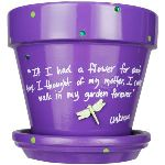 Whimsical flower pots, hand quoted in dozens of different colors and embellishments--just the thing to brighten up your kitchen or deck! They can hold flowers, kitchen utensils, or dog treats. Each has a unique quote that ranges in category from gardening, children, teachers, dogs, humor, family and friendship and more! There is one just right for you! Make a great gift, one for your mother, sister, teacher, father..and dont forget Aunt Betty! Fill it with a flower, favorite items (snacks, candy, gardening gloves, teacher goodies, pens, pencils).