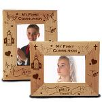 "Our My First Communion Wood Picture Frame measures 8 3/4""x 6 3/4"" and holds a 3½""x5"" or 4""x6"" photo. Easel back allows for desk display. Frame also available in either horizontal or vertical design format."