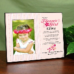 "Flower Girls have important jobs to do at weddings. Create a special personalized gift frame for your flower girl. Let her know you are thankful to have her by your side. Personalized To Our Flower Girl Photo Frame measures 8"" x 10"" and holds a 3.5"" x 5"" or 4"" x 6"" photo. Easel back allows for desk display or ready for wall mount. Includes FREE Personalization! Our Personalized Custom Printed To Our Flower Girl Frame can be personalized with any Name above the poem & any two line custom message below the poem."