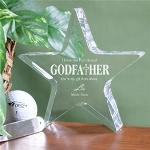 "Your God Father is a special person and has always been there for you, why not honor him with this classic personalized godparent's keepsake! Our elegantly engraved Personalized Star Keepsake measures 5"" x 5"" with edges measuring 1"" thick. Includes FREE Personalization! Personalize your Godfather Keepsake with God childs name. (Nicole Marie)"