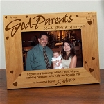 "Our Personalized Godparent Gift Picture Frame measures 8 3/4""x 6 3/4"" and holds a 3½""x5"" or 4""x6"" photo. Easel back allows for desk display. Includes FREE Personalization! Personalize your Wood Photo Frame with any Godmothers name and Godchilds name. Perfect gift for any babys christening or baptism. Please choose Godmother, Godfather or Godparents."