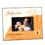 "This lovely godparent photo frame makes a terrific picture frame gift for any new godparent, and features a pretty orange motif and the phrasing ""Each time the world needs and extra touch of love and gentle caring, God creates a godparent."" These 8"" by 10"" custom picture frames hold a single 4"" by 6"" photograph, and can be further personalized with the name of the godparent and godchild, and the date of the special day. Give a gift of thanks to a caring godparent, with this very special godparent picture frame."