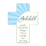 "This blue godchild wall cross is an ideal new baby gift, and makes a fitting gift for any religious milestone in a childs life. Each boys cross features ""godchild"" printed prominently on the cross, with room for a personal message at the bottom. These unique baby gifts measure 5 1/4"" by 6.875"" and are made of hardwood and finished with a lovely gloss. For a personal and one-of-a-kind newborn baby gift, choose this custom blue godchild wall cross"