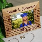 This engraved picture frame can also be personalized for best friends, school group, club or organization. Simply place the name of the club in the Name section, the members names in the School Name section and provide the year. This personalized frame makes a great graduation gift for high school, college or junior high school.