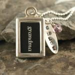 "Send a gift of love to your grandma any time of year. Our personalized grandmothers necklace is a keepsake gift. Sterling silver tags with name stamped on them along with swarovski crystals in your choice of color. Lead free pewter and glass pendant with grandma on both sides Includes 18"" sterling silver ball chain Additional fees for name tags..."