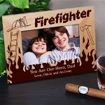 Give your favorite Fireman this handsome Personalized Firefighter Picture Frame as a thoughtful & personal gift to enjoy while spending time in the firehouse. Dad, Uncle or Grandfather is sure to love your favorite picture placed in this Personalized Picture Frame. The perfect Fathers Day gift, he is sure to love every day.
