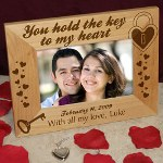Let them know that they hold the key to your heart. Our personalized frame makes a keepsake gift idea for any romantic couple. Personalize with any date and one line custom message.