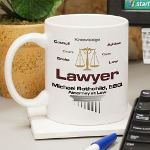 Attorney at Law Gifts Honor a distinguished Lawyer or new lawyer with a Personalized Lawyer Coffee Mug. This engraved Mug is sure to look great in the office or home. Our Personalized Lawyer Coffee Mug is an affordable gift for a recent Law School Graduate or to say thank you for a job weel done.