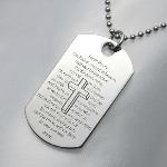 This stainless steel dog tag pendant looks great with our stainless bead chain. Pre-engraved in black with the Lords prayer, you can personalize the backside with your own unique engraving. Bail opening is 5.81mm.