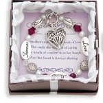 Expressively Yours bracelets are distributed through MOL Jewelry. Silver like message beads and glass beads make this a special gift idea. An etched heart charm hangs by the toggle. The gift comes beautifully boxed with a special poem card. Send mom wishes of love forever with this very special bracelet.