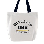 "deal as a gift for that mathematics teacher who is constantly challenging you, this white tote bag proudly states Mathlete along with the name of the recipient and the school acronym. This white Tote Bag measures 16 1/2"" x 16 1/2"" has black nylon straps. The bag is made of 100% Polyester Duck (a tightly woven, heavy, plain weave fabric with a hard, durable finish). Perfect for books, groceries or everyday use."