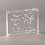 "A simple yet eloquent plaque can express your appreciation that mom can treasure all year long. The rectangular 4"" x 3"" x .75"" acrylic plaque is prettily adorned with an engraved bouquet of flowers with the words Happy Mother's Day. You can personalize it and make it extra special with two lines of script telling your mom how special she is to you for a remembrance that she will love."