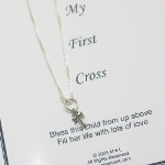 This Sterling Silver Babys First Cross Necklace makes a beautiful keepsake gift idea for a special baby. Arrives in a gift box with card. Choose between sterling silver or gold toned.