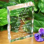 "Your Mom has always been there for you; through good times & bad. She always supports your dreams and helps guide you along the way. Show your Mom how lucky you are to have her with a Personalized Poem Keepsake engraved just for her. Our elegantly clear Personalized Mothers Day Keepsake stands 4"" x 6"" with soft scalloped edges measuring 1"" thick. Engraved keepsake for mom includes FREE personalization! Personalize your Mothers Day Keepsake with up to 6 names."