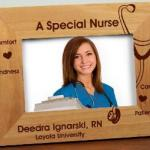 Whether celebrating a graduation for an RN or LPN or saying thank you to a special nurse or to give as a gift for a special nurse for her retirement, our personalized wooden nurse frame makes a keepsake gift idea. Personalize your Nurse Picture Frame with any one line custom message. (i.e. Name and School, Name and Date, Thank you for your kindness, Name and Years of Service) .