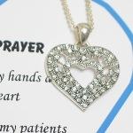 Celebrate a special nurse, nurse retirement or graduation with our Crystal heart nurse prayer necklace gift.