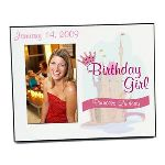 "Every girl likes to be treated like a princess on her birthday, so why not remember that day with this princess photo frame. Personalize with the recipients name, which will appear on a fairy tale castle. This wooden frame features a glossy finish and holds a 4"" x 6"" photo. The frame measures 8"" x 10"" overall, and has a black back."