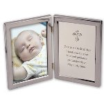 This beautiful religious themed combination frame and engraving plate allows space for both a photo and a special personalization. The left side holds a 4 x 6 photo and the right side features a artful cross above which you may add several lines of text. Perfect for commemorating a Christening, Communion or Confirmation occasion or even a religious wedding, this is a gift that will be displayed proudly in their home for years to come.