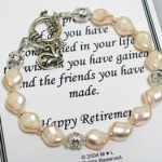 This pearl and crystal bracelet makes a beautiful keepsake gift as a reminder of lifes accomplishments. Each bracelet comes with the special card as shown below. Made with swarovski cream rose pearls, swarovksi crystals and silver and crystal roundel. An etched, silver heart charm hangs next to the bali silver toggle.
