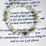 "Celebrate a baptism or christening with our stretched style baptism gift bracelet. Measures 5"" with stretch and is available in larger sizes for older children/adults making the sacrament. A beautiful and delicate gift to celebrate a meaningful day."
