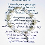 Our keepsake baptism bracelet on a stretchable style cord makes a special gift idea for a daughter, granddaughter, godchild or special person as they are baptized or christened. A special meaningful poem comes with and is gift boxed.