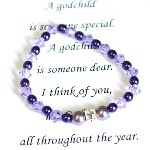 Celebrate a special religious occasion, birthday or even holiday with your godchild. Our Godchild gift bracelet is a keepsake gift idea is made with swarovski crystals and glass beads along with a silver cross bead on a stretch style bracelet.