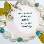 Celebrate a special bond with your sister with our Sisters by Heart gift bracelet. Sister to Sister Celebrating family, secrets and friendship Czech Glass Nuggets, turquoise jasper beads and sterling silver toggle clasp and sterling silver heart shaped sis charm
