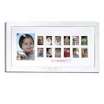 "This white wooden baby frame makes a great way to display a new baby's first year growing up. This unique baby picture frame holds a 4"" x 6"" center photo and a wallet sized picture for each month of the baby's first year, chronicling the changes as they occur. With the child's name personalized under the center photograph, this display will be cherished for the rest of the young one's life. Frame measures 17.5"" x 1"" x 10.25""."