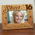 "Our Personalized Sweet Sixteen Picture Frame make a great Birthday Gift. This Personalized Birthday Frame measures 8 3/4""x 6 3/4"" and holds a 3½""x5"" or 4""x6"" photo. Easel back allows for desk display. Includes FREE Personalization! Personalize your Sweet Sixteen Picture Frame with any one line custom message. (i.e. Happy Birthday, Melissa)"